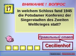 ВНИМАНИЕ ! ВОПРОС In welchem Schloss fand 1945 die Potsdamer Konferenz der Si