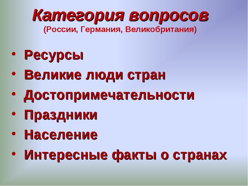 Категория вопросов (России, Германия, Великобритания) Ресурсы Великие люди ст...