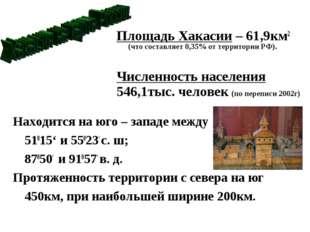Площадь Хакасии – 61,9км2 (что составляет 0,35% от территории РФ). Численност