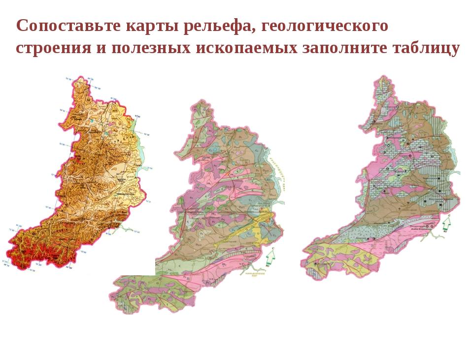 Сопоставьте карты рельефа, геологического строения и полезных ископаемых запо...