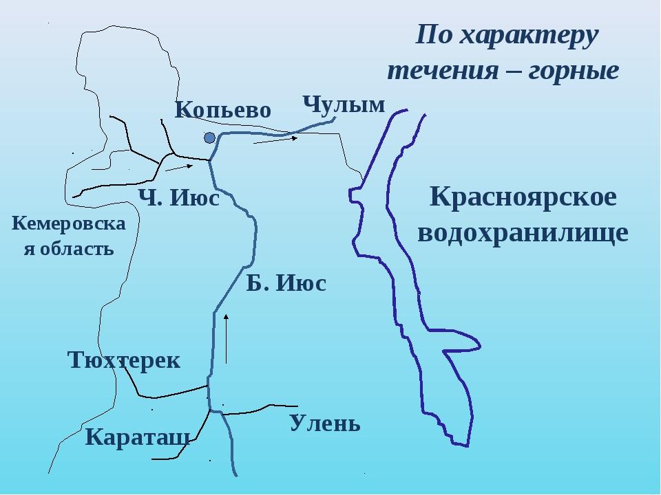 Красноярское водохранилище Кемеровская область Копьево Чулым Б. Июс Улень Кар...
