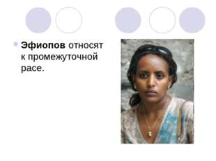 Эфиопов относят к промежуточной расе.