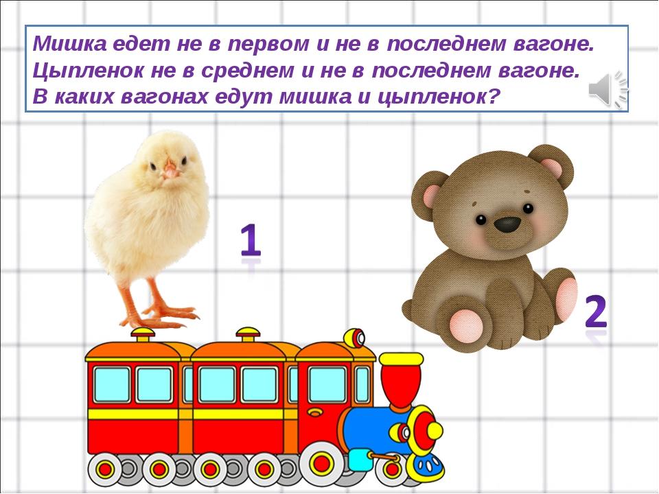 Мишка едет не в первом и не в последнем вагоне. Цыпленок не в среднем и не в...