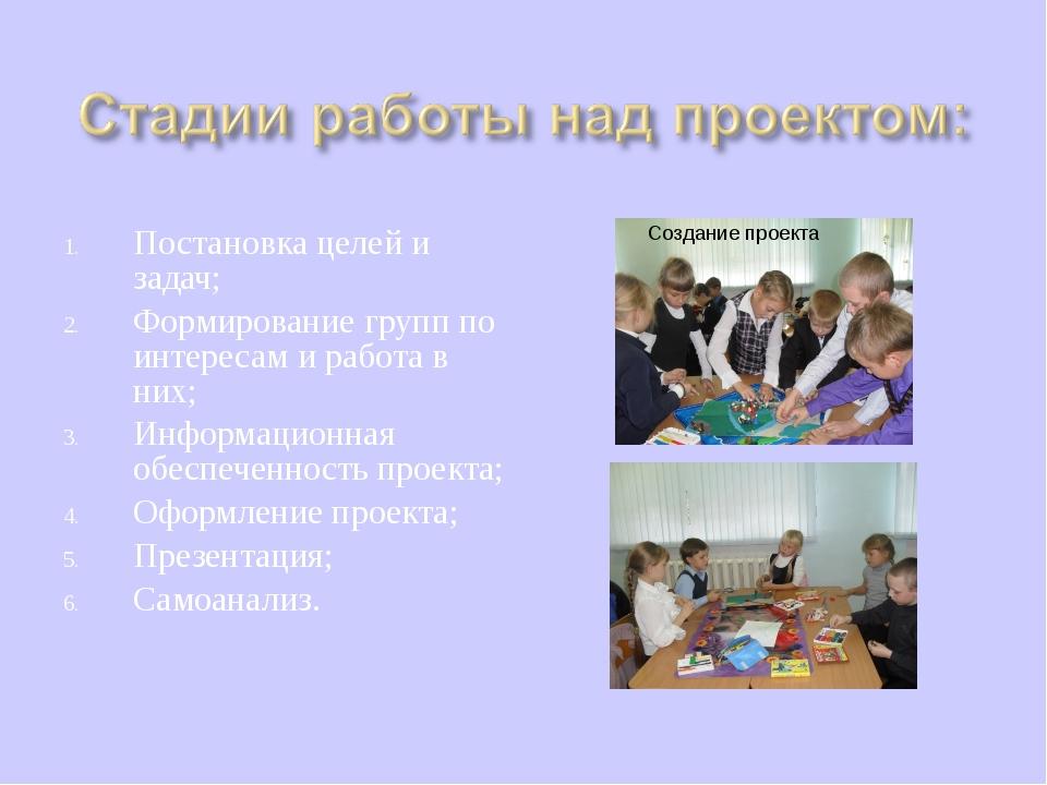 Постановка целей и задач; Формирование групп по интересам и работа в них; Инф...