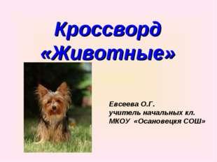 Кроссворд «Животные» Евсеева О.Г. учитель начальных кл. МКОУ «Осановецкя СОШ»