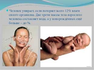 Человек умирает, если потеряет всего 12% влаги своего организма. Две трети ма