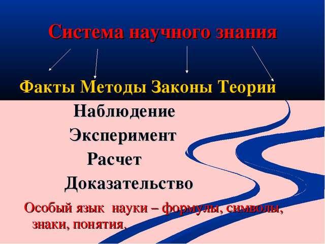 Система научного знания Факты Методы Законы Теории Наблюдение Эксперимент Рас...