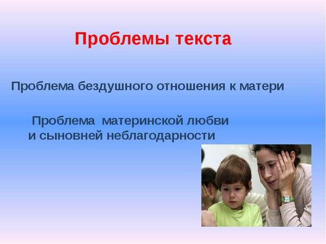 Проблемы текста Проблема бездушного отношения к матери Проблема материнской л...