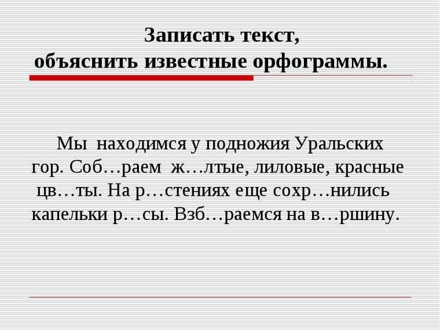 Мы находимся у подножия Уральских гор. Соб…раем ж…лтые, лиловые, красные цв…...