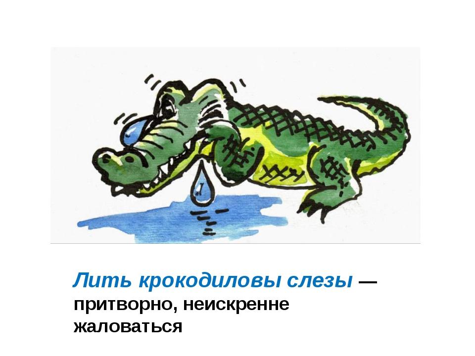 Лить крокодиловы слезы — притворно, неискренне жаловаться