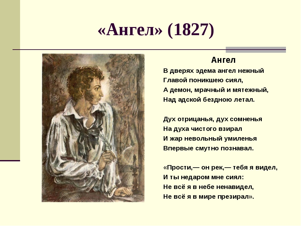 «Ангел» (1827) Ангел В дверях эдема ангел нежный Главой поникшею сиял, А демо...