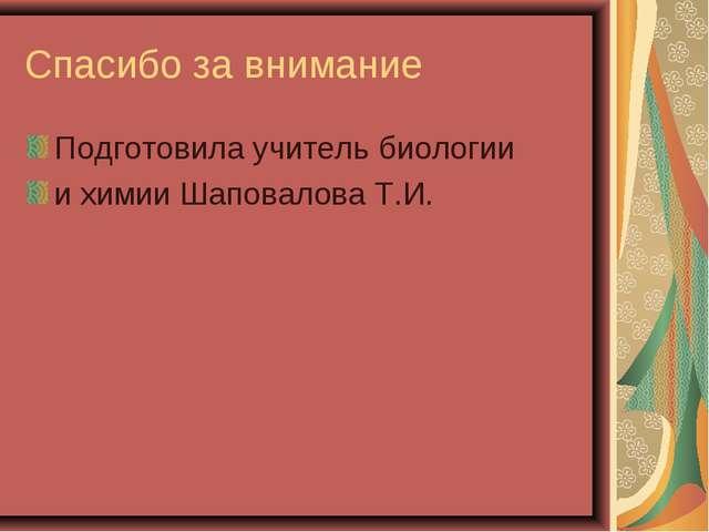Спасибо за внимание Подготовила учитель биологии и химии Шаповалова Т.И.