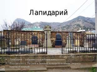 Лапидарий Лапидарий - собрание надгробных плит; Находится в п. Уютное в бывше