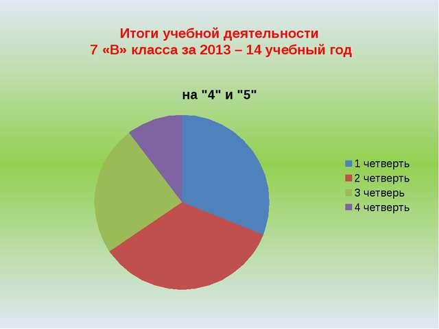 Итоги учебной деятельности 7 «В» класса за 2013 – 14 учебный год