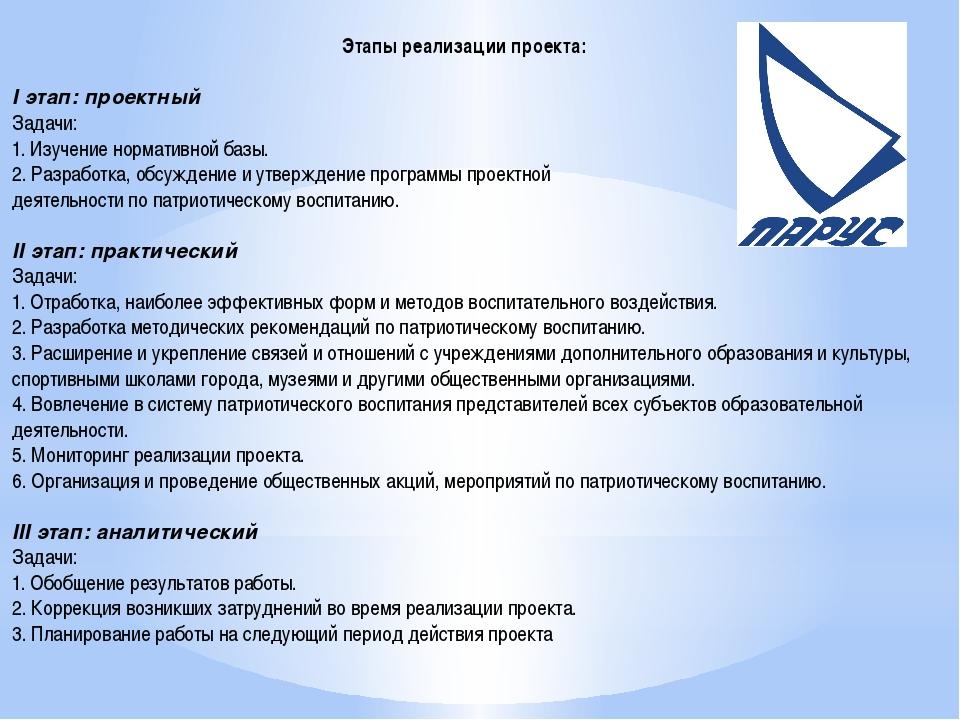 Этапы реализации проекта: I этап: проектный Задачи: 1. Изучение нормативной б...