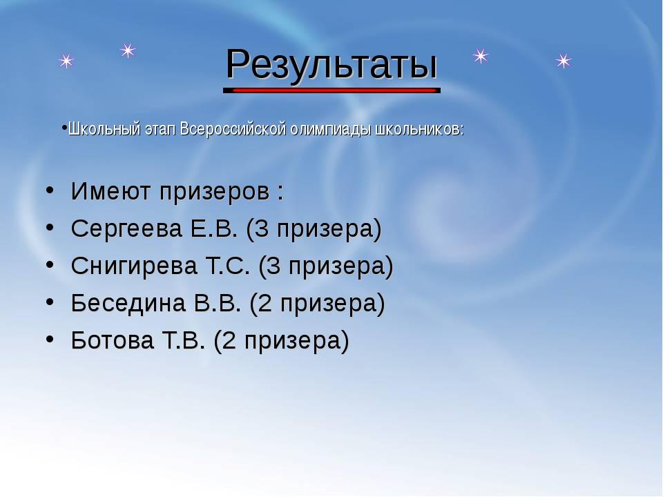 Результаты Имеют призеров : Сергеева Е.В. (3 призера) Снигирева Т.С. (3 призе...