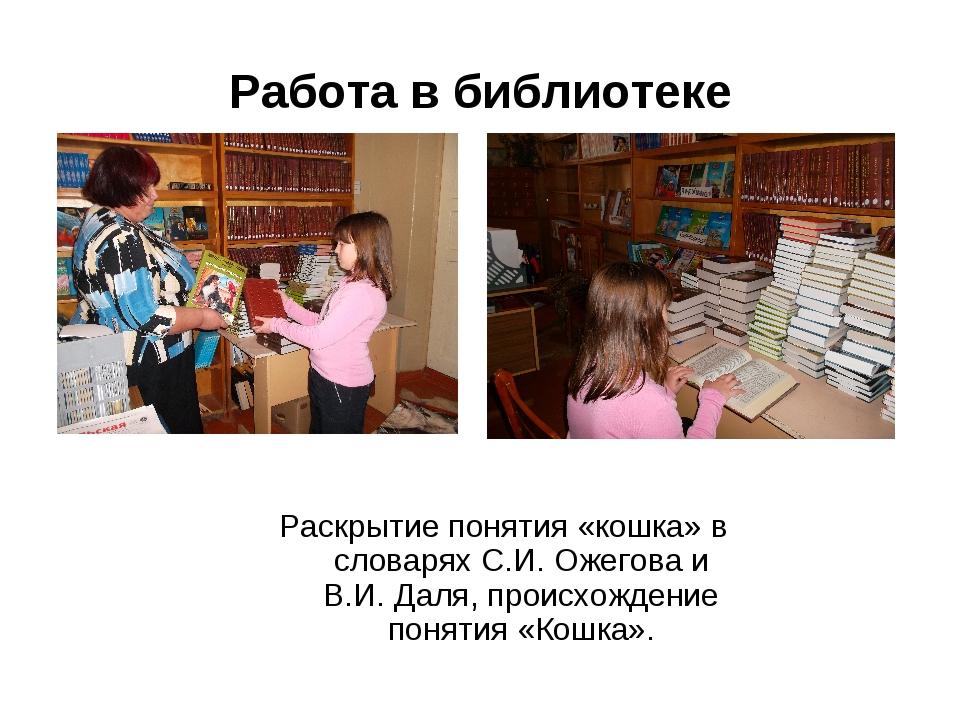 Работа в библиотеке Раскрытие понятия «кошка» в словарях С.И. Ожегова и В.И....