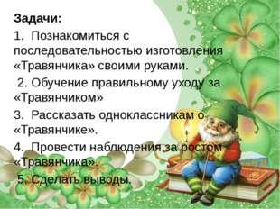 Задачи: 1. Познакомиться с последовательностью изготовления «Травянчика» свои