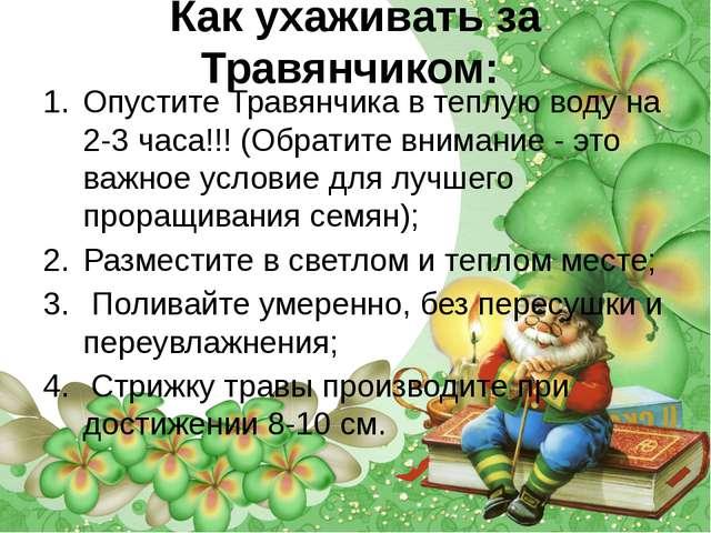 Как ухаживать за Травянчиком: Опустите Травянчика в теплую воду на 2-3 часа!...
