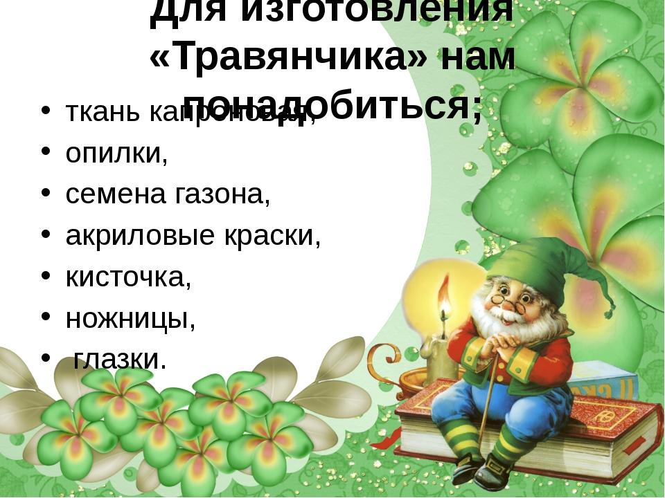 Для изготовления «Травянчика» нам понадобиться; ткань капроновая, опилки, сем...