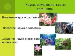 Науки, изучающие живые организмы: Ботаника-наука о растениях Зоология- наука