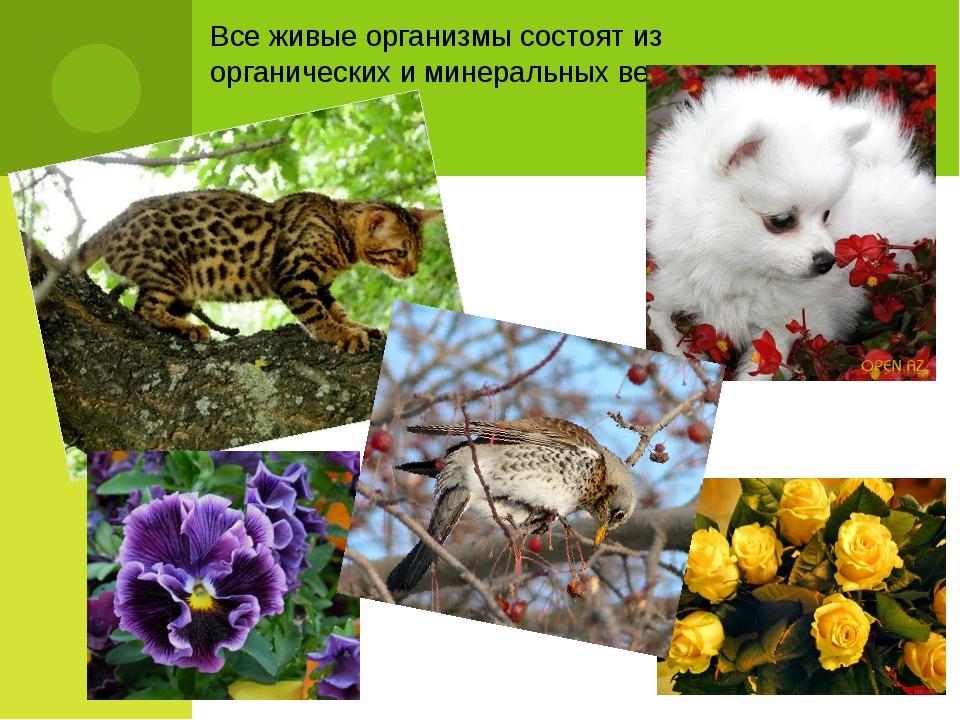 Все живые организмы состоят из органических и минеральных веществ.