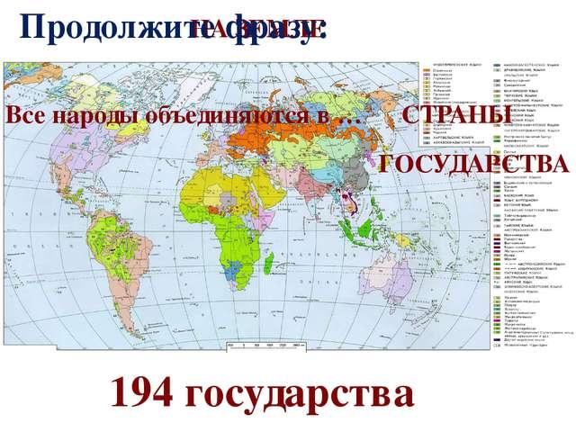 НА ЗЕМЛЕ 194 государства Продолжите фразу: Все народы объединяются в … СТРАНЫ...