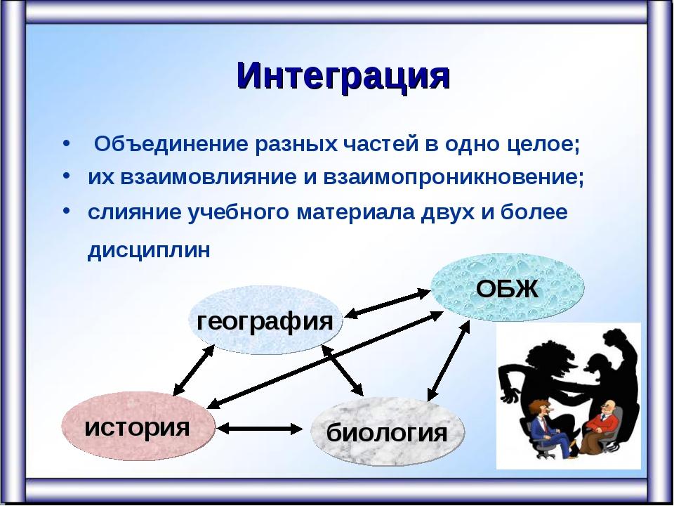 Интеграция Объединение разных частей в одно целое; их взаимовлияние и взаимо...