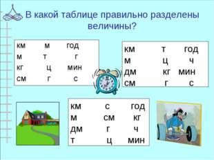 В какой таблице правильно разделены величины? км т год м ц ч дм кг мин см г с