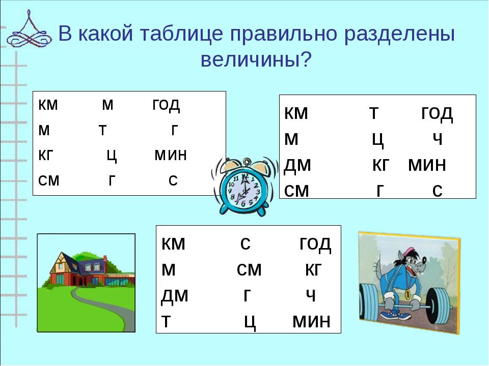 В какой таблице правильно разделены величины? км т год м ц ч дм кг мин см г с...