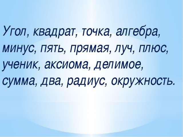 Угол, квадрат, точка, алгебра, минус, пять, прямая, луч, плюс, ученик, аксиом...