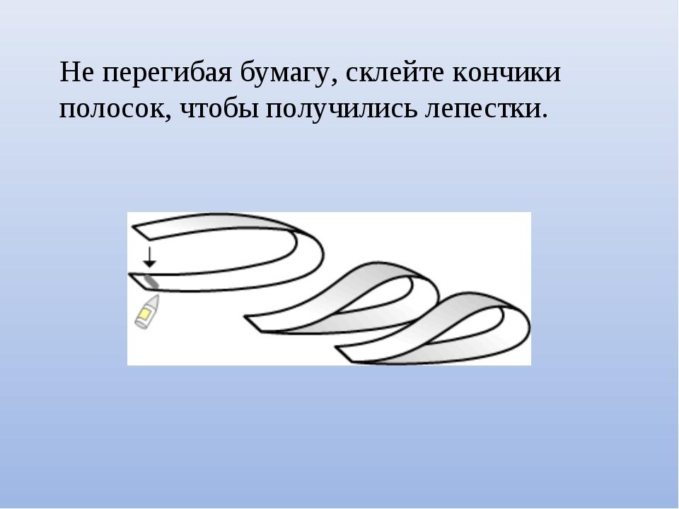 Не перегибая бумагу, склейте кончики полосок, чтобы получились лепестки.