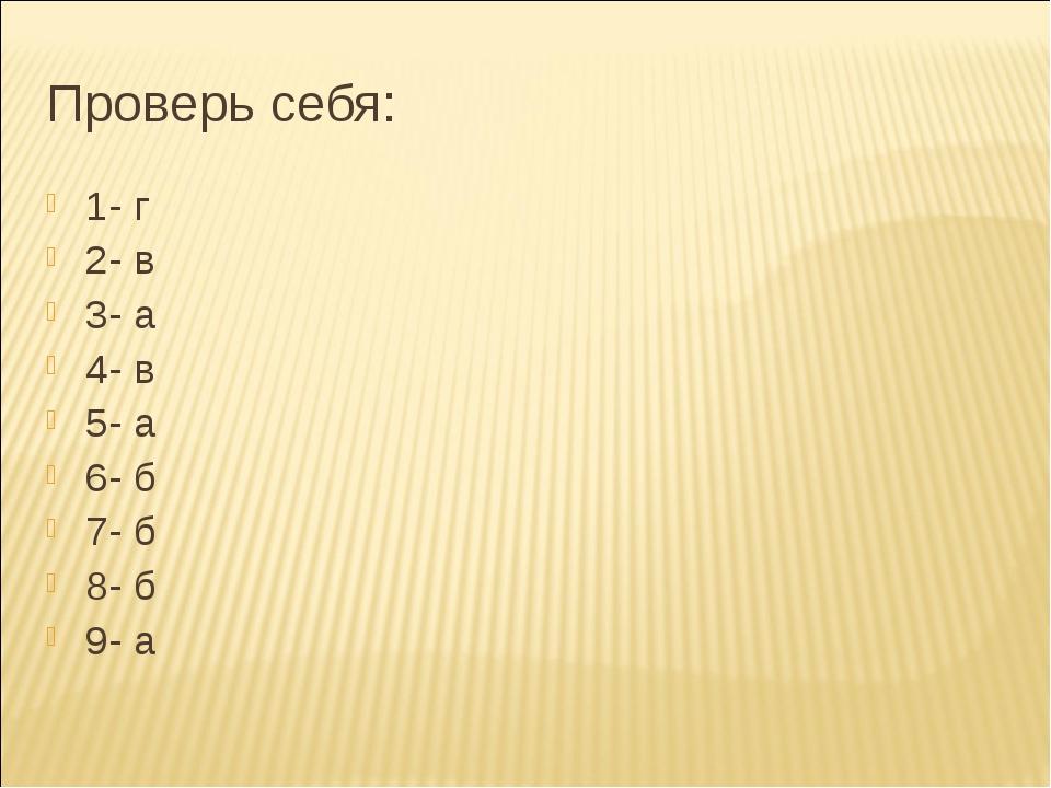Проверь себя: 1- г 2- в 3- а 4- в 5- а 6- б 7- б 8- б 9- а
