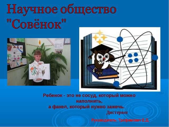 Руководитель: Трофимович Е.Д. Ребенок - это не сосуд, который можно наполнить...