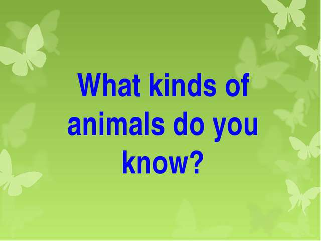 What kinds of animals do you know?