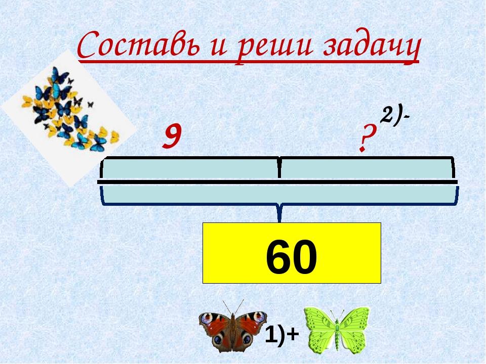 Составь и реши задачу 9 ? 16+44 1)+ 2)- 60