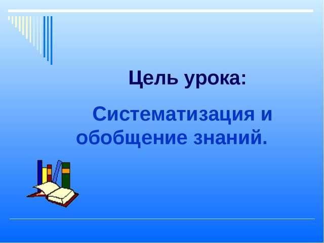 Цель урока: Систематизация и обобщение знаний.