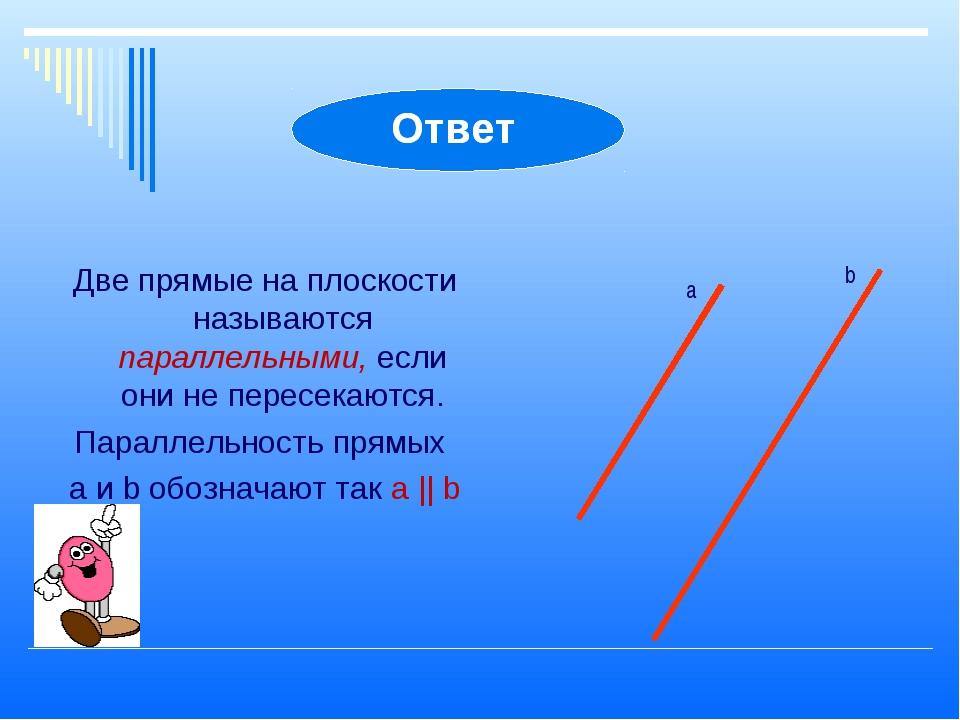 Две прямые на плоскости называются параллельными, если они не пересекаются. П...