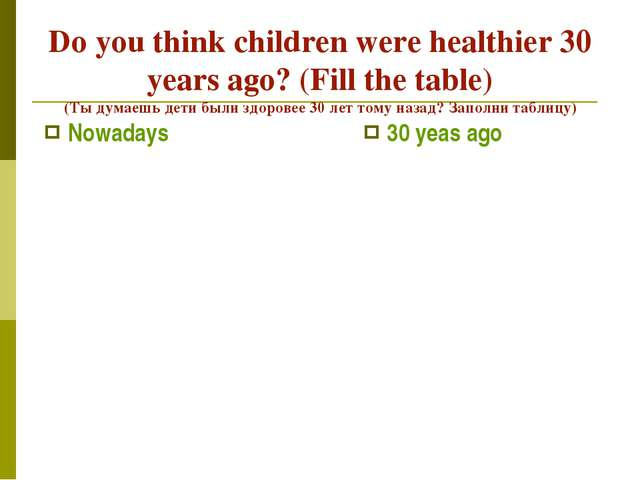 Do you think children were healthier 30 years ago? (Fill the table) (Ты думае...