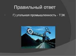 Правильный ответ Г) угольная промышленность - ТЭК