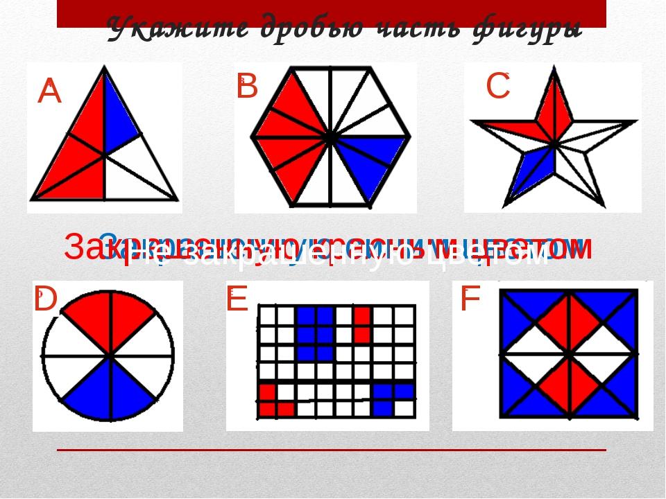 Укажите дробью часть фигуры А B D E F C Закрашенную синим цветом Закрашенную...
