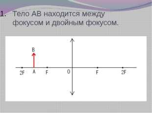 Тело АВ находится между фокусом и двойным фокусом.