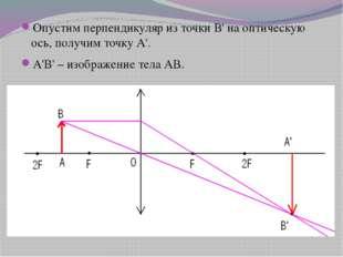 Опустим перпендикуляр из точки В' на оптическую ось, получим точку А'. А'В'