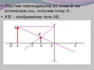Опустим перпендикуляр из точки В' на оптическую ось, получим точку А'. А'В' –