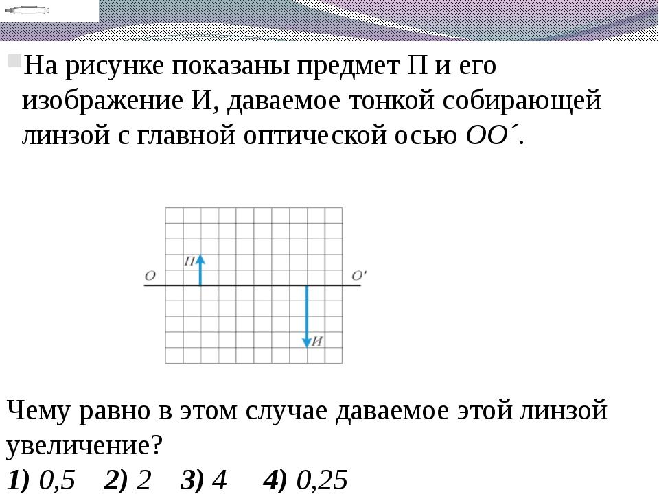 На рисунке показаны предмет П и его изображение И, даваемое тонкой собирающей...