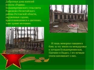 Добротные дома жителей колхоза «Родина» Большекрепинского сельсовета Родионов