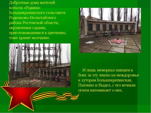 Добротные дома жителей колхоза «Родина» Большекрепинского сельсовета Родионов...