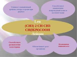 Leu (CH3) 2 CH CH3 CH(H2N)COOH Лейцин Способствует заживлению повреждений кож