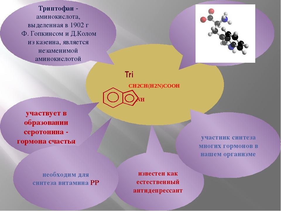 Tri CH2CH(H2N)COOH NH участвует в образовании серотонина - гормона счастья Т...