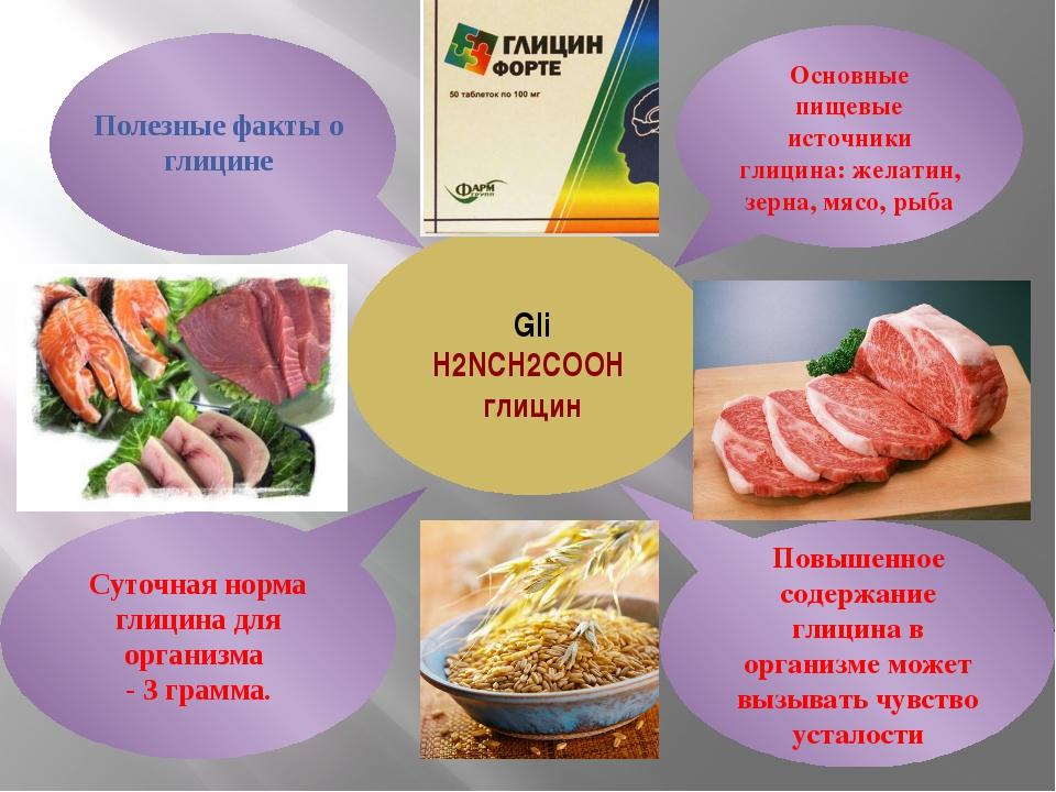 Gli H2NCH2COOH глицин Суточная норма глицина для организма - 3 грамма. Повыш...
